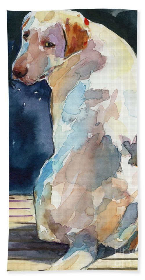 Labrador Retriever Hand Towel featuring the painting Lucy Moon by Molly Poole