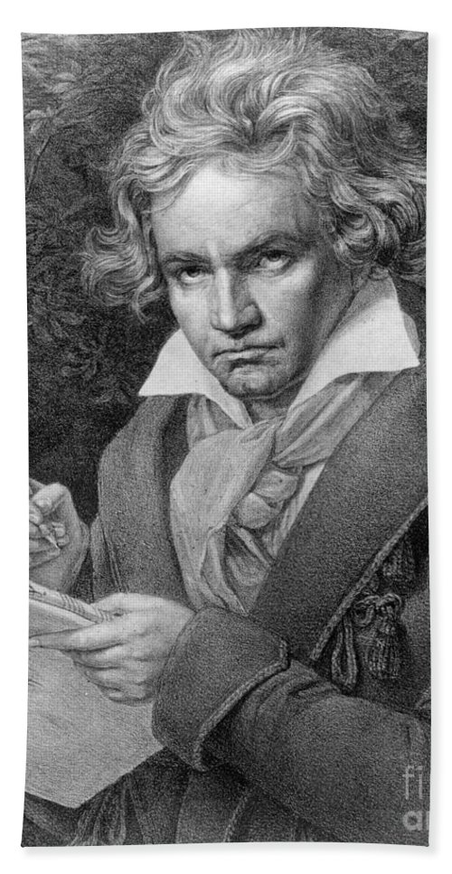 Portrait Bath Sheet featuring the drawing Ludwig Van Beethoven by Joseph Carl Stieler