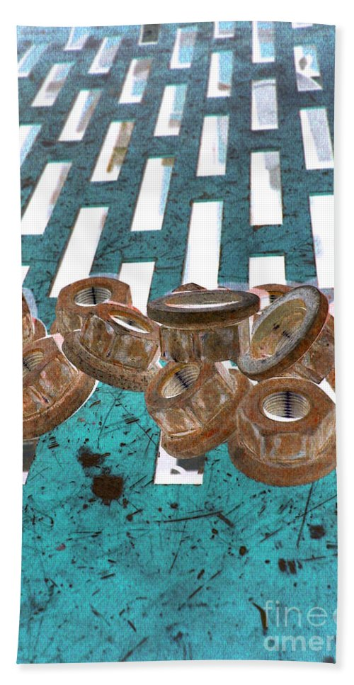 Equipment Bath Sheet featuring the photograph Lug Nuts On Grate Vertical Turquoise Copper by Heather Kirk