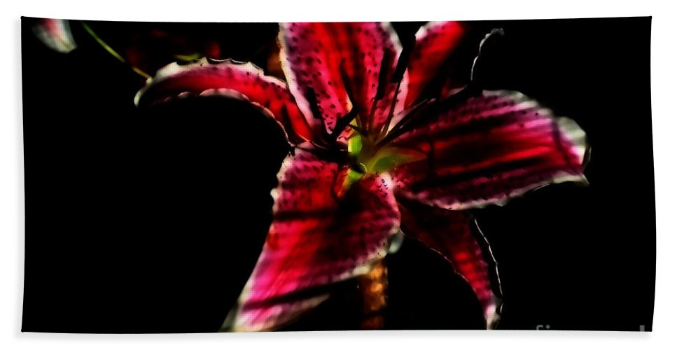Flowers Hand Towel featuring the photograph Luminet Darkness by Jessica Shelton