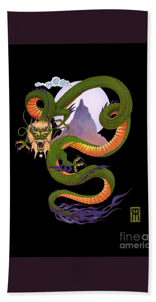 Dragon Hand Towel featuring the digital art Lunar Chinese Dragon on Black by Melissa A Benson