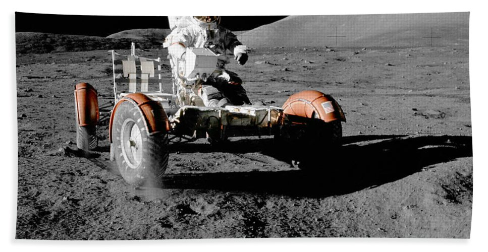 Moon Hand Towel featuring the photograph Lunar Ride by Jon Neidert