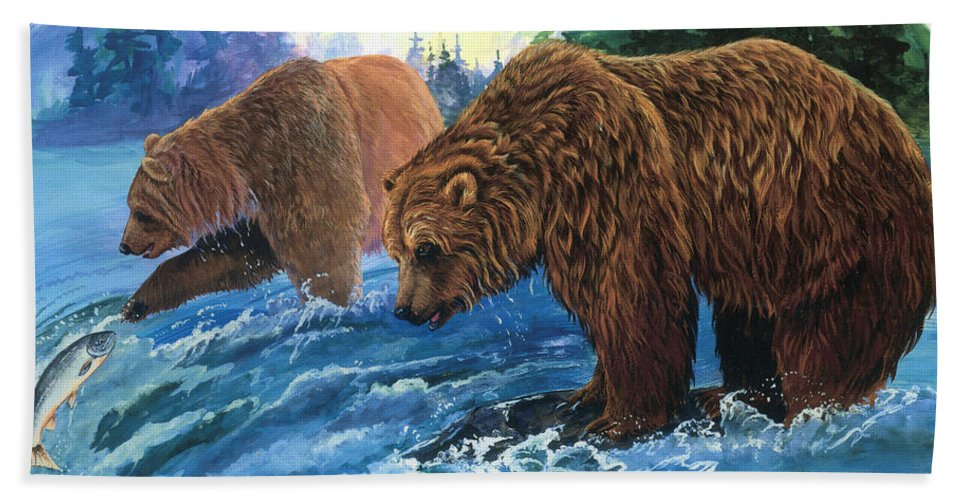 Grizzly Bear Bath Sheet featuring the painting Lunch Break by Sherry Shipley