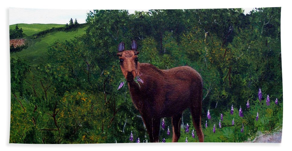 Barbara Griffin Bath Sheet featuring the painting Lupine Loving Moose by Barbara Griffin
