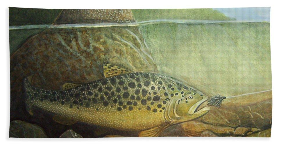 Rick Huotari Bath Towel featuring the painting Lurking by Rick Huotari