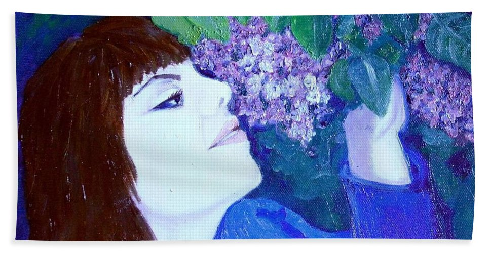 Lilacs Hand Towel featuring the painting Lush Lilacs by Laurie Morgan