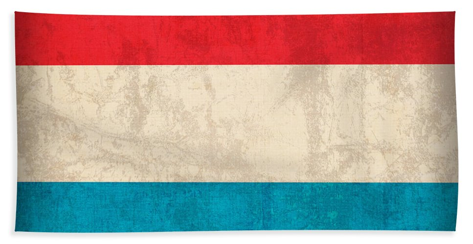 Luxembourg Hand Towel featuring the mixed media Luxembourg Flag Vintage Distressed Finish by Design Turnpike