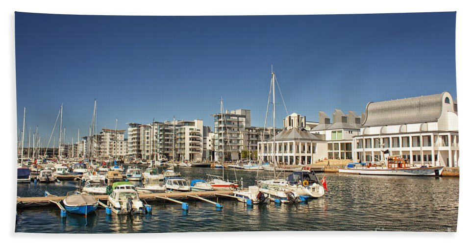 Helsingborg Hand Towel featuring the photograph Luxury Marina In Helsingborg Sweden by Sophie McAulay