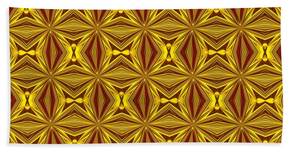 Christmas Bath Sheet featuring the digital art Luxury Red And Gold Christmas Kaleidoscope by Taiche Acrylic Art