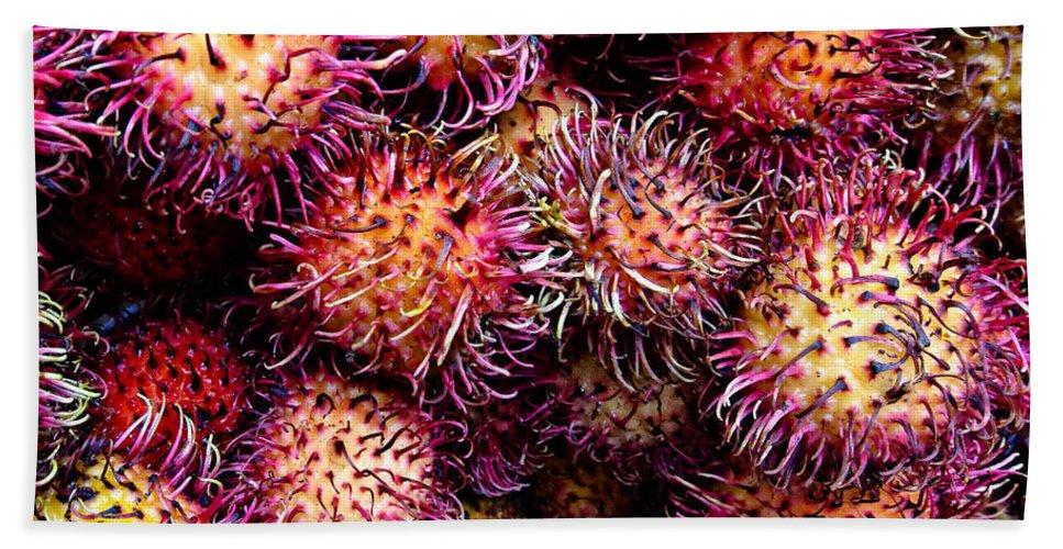 Lychee Bath Sheet featuring the photograph Lychee Fruit - Mercade Municipal by Julie Niemela