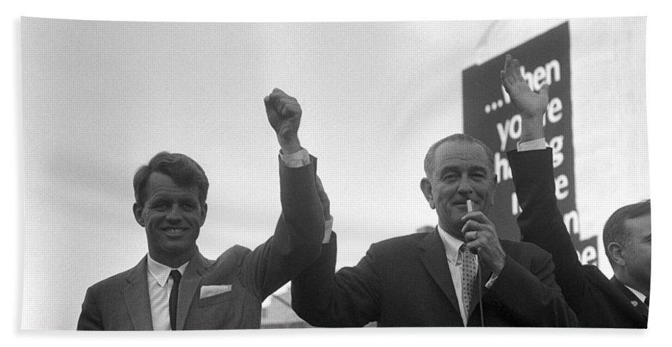 Lbj Hand Towel featuring the photograph Lyndon Johnson With Robert Kennedy by War Is Hell Store