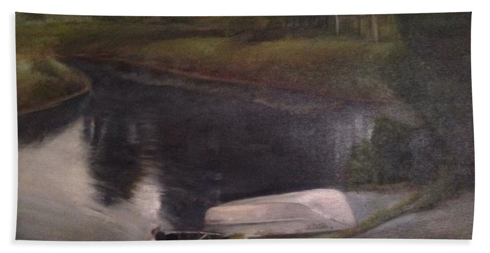 Moose River Bath Towel featuring the painting Lyons Falls - Moose River by Sheila Mashaw