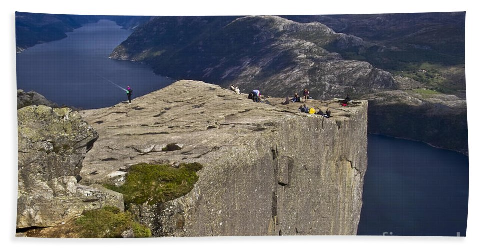 Europe Hand Towel featuring the photograph Lysefjord With Prekestolen by Heiko Koehrer-Wagner