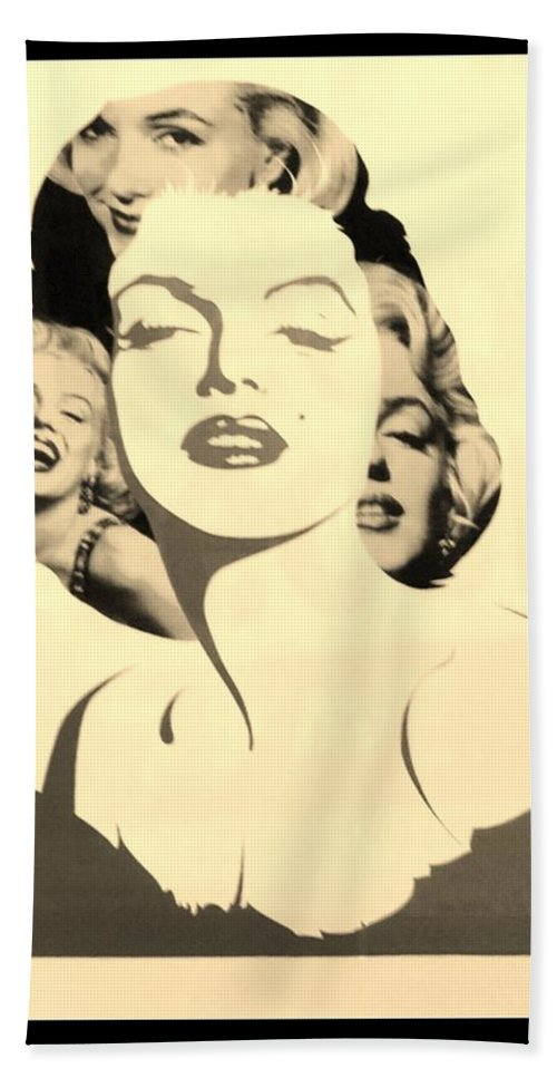 Marilyn Monroe Bath Sheet featuring the photograph M M In Sepia by Rob Hans