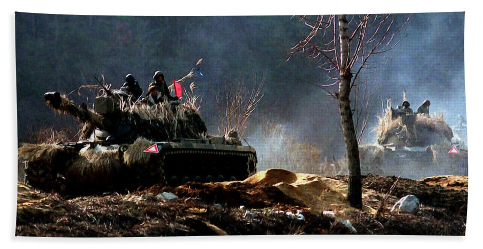 Korean War Memorial Bath Sheet featuring the painting M48 Tanks An Tankers On The Job In Korean War by Bob and Nadine Johnston