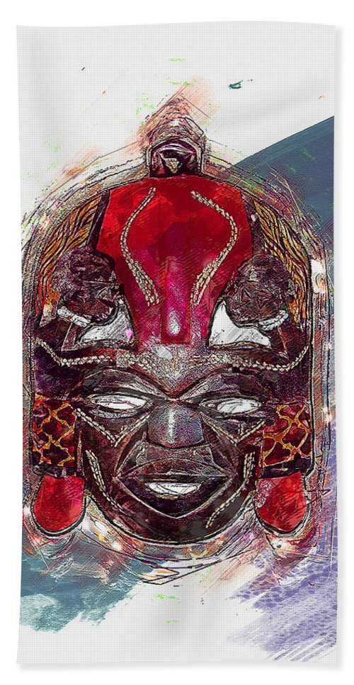 'treasures Of Africa' Collection By Serge Averbukh Hand Towel featuring the digital art Maasai Mask - The Rain God Ngai by Serge Averbukh