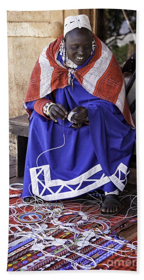 Africa Hand Towel featuring the photograph Maasai Woman by Timothy Hacker
