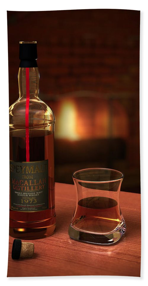 3d Hand Towel featuring the photograph Macallan 1973 by Adam Romanowicz