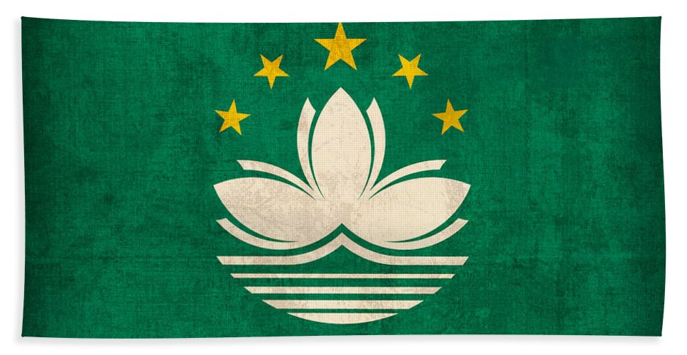 Macau Hand Towel featuring the mixed media Macau Flag Vintage Distressed Finish by Design Turnpike