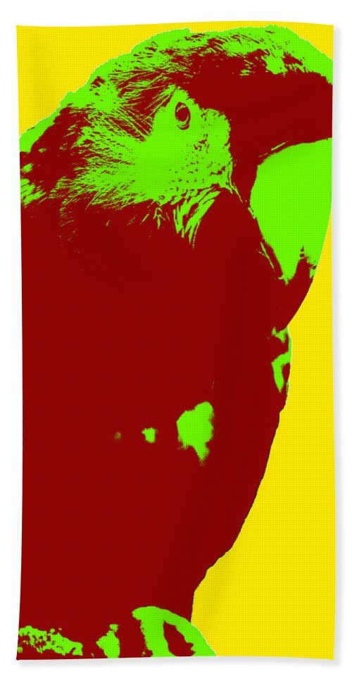 Pop Bath Sheet featuring the photograph Macaw Pop Art by Pati Photography