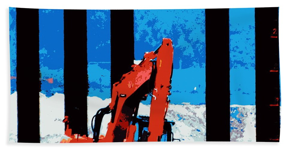 Digger Excavator Post Piles Dirt Snow Bridge Engineering Road Highway Industry Bath Sheet featuring the photograph Machine Vs Wild by Guy Pettingell