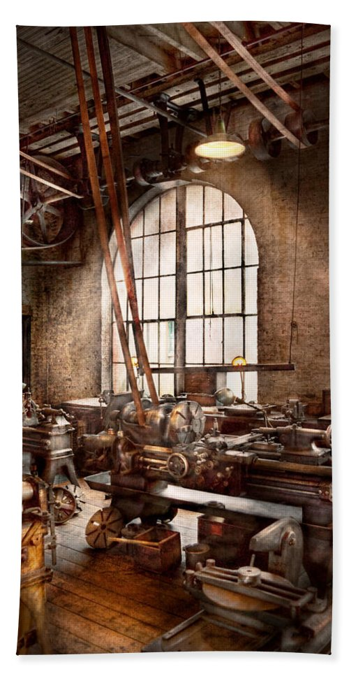 Machinists Bath Sheet featuring the photograph Machinist - I Like Big Tools by Mike Savad