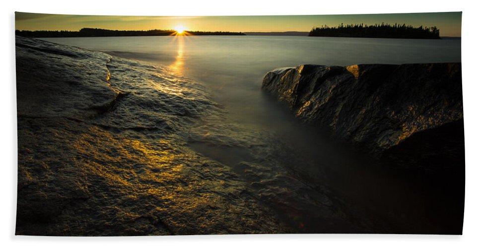 Bay Bath Sheet featuring the photograph Mackenzie Point September Sunrize by Jakub Sisak