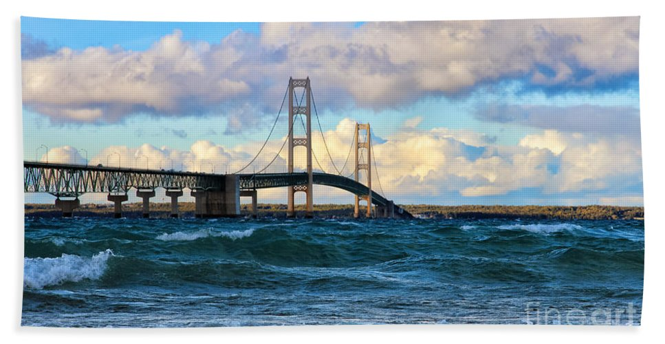 Mackinac Hand Towel featuring the photograph Mackinac Among The Waves by Rachel Cohen
