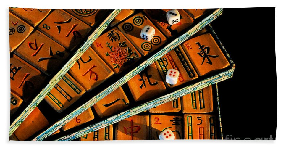 Still Life Hand Towel featuring the photograph Mad For Mahjong by Lois Bryan