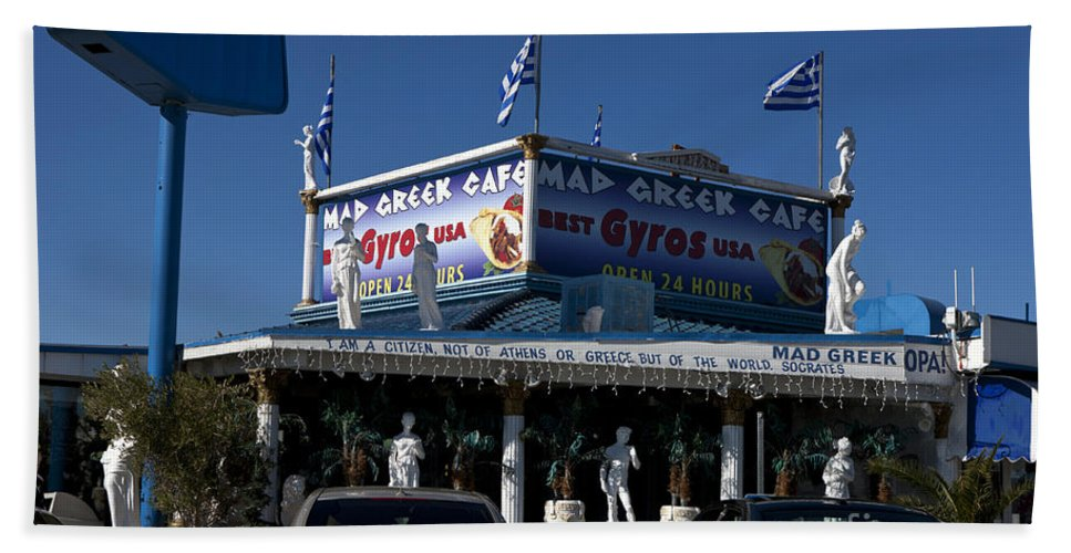 Travel Hand Towel featuring the photograph Mad Greek Cafe by Jason O Watson