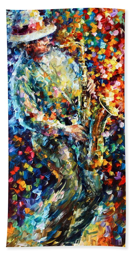 Afremov Hand Towel featuring the painting Mad Jazz by Leonid Afremov