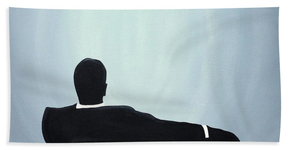 John Lyes Mad Men Art Bath Sheet featuring the painting Mad Men In Silhouette #2 by John Lyes