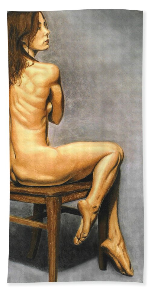 Joe Ogle Hand Towel featuring the pastel Madame Brooke by Joseph Ogle