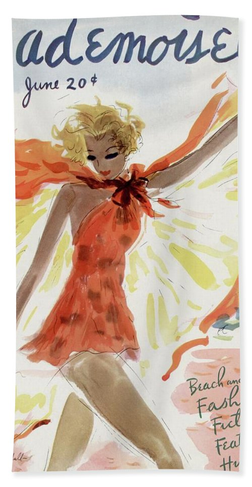 Illustration Bath Towel featuring the photograph Mademoiselle Cover Featuring A Model At The Beach by Helen Jameson Hall
