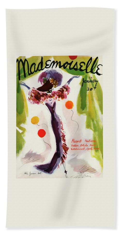 Illustration Bath Towel featuring the photograph Mademoiselle Cover Featuring A Model Wearing by Helen Jameson Hall