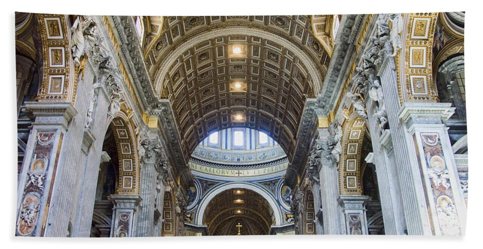 Madernos Nave Ceiling Bath Sheet featuring the photograph Maderno's Nave Ceiling by Ellen Henneke