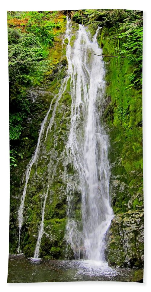 Waterfall Hand Towel featuring the photograph Madison Creek Falls by Lena Photo Art
