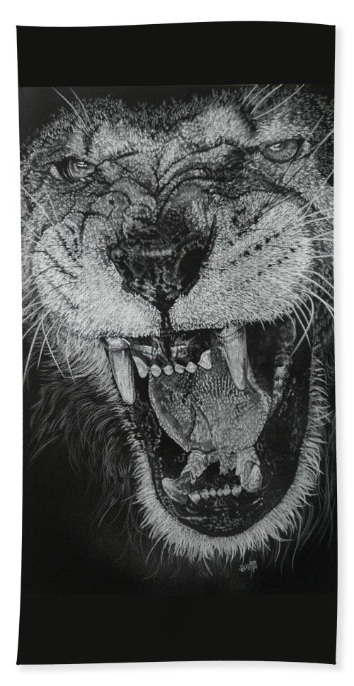 Lion Hand Towel featuring the drawing Madness by Barbara Keith