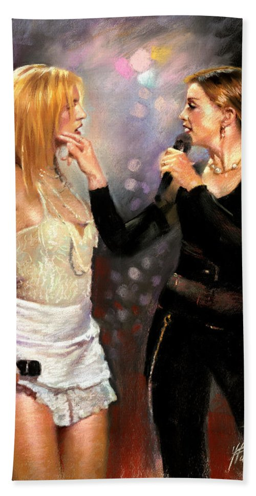 Madonna Hand Towel featuring the drawing Madonna And Britney Spears by Viola El