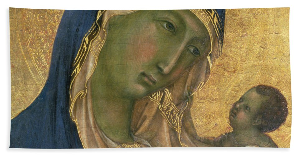 Virgin And Child Bath Sheet featuring the painting Madonna And Child by Duccio di Buoninsegna