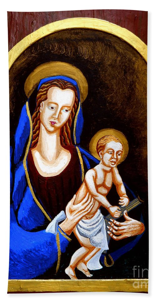 Madonna And Child Hand Towel featuring the painting Madonna And Child by Genevieve Esson