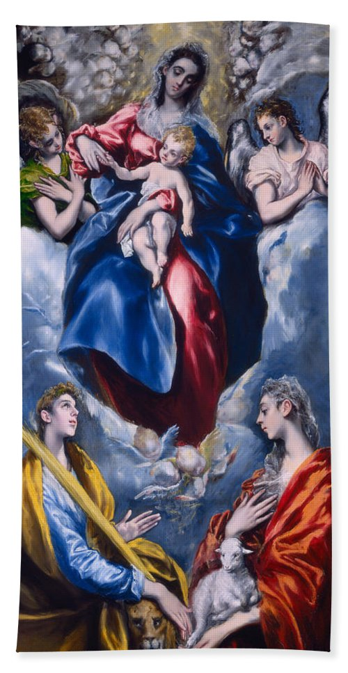 Madonna And Child With Saint Martina And Saint Agnes Hand Towel For Sale By El Greco Domenico Theotocopuli