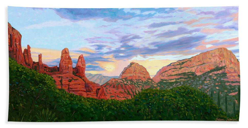 Madonna Bath Sheet featuring the painting Madonna And Nuns - Sedona by Steve Simon