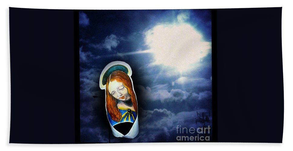 Madonnaandchild Hand Towel featuring the painting Madonna Lightens The Earth by Genevieve Esson