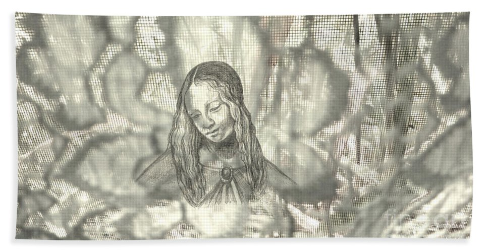 Madonnaandchild Hand Towel featuring the drawing Madonna On Black And White Screen by Genevieve Esson