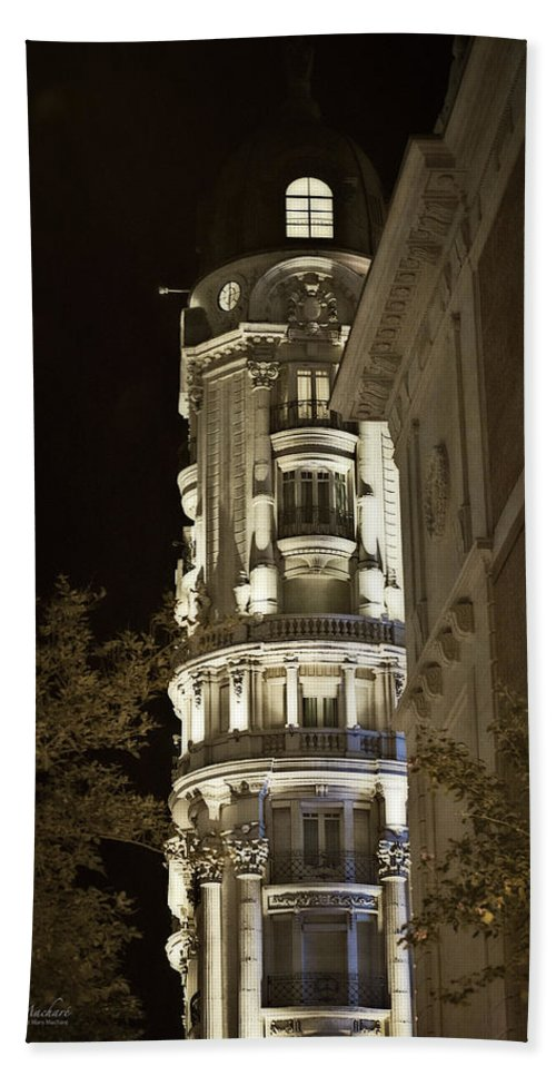 Madrid Bath Sheet featuring the photograph Madrid At Night by Mary Machare