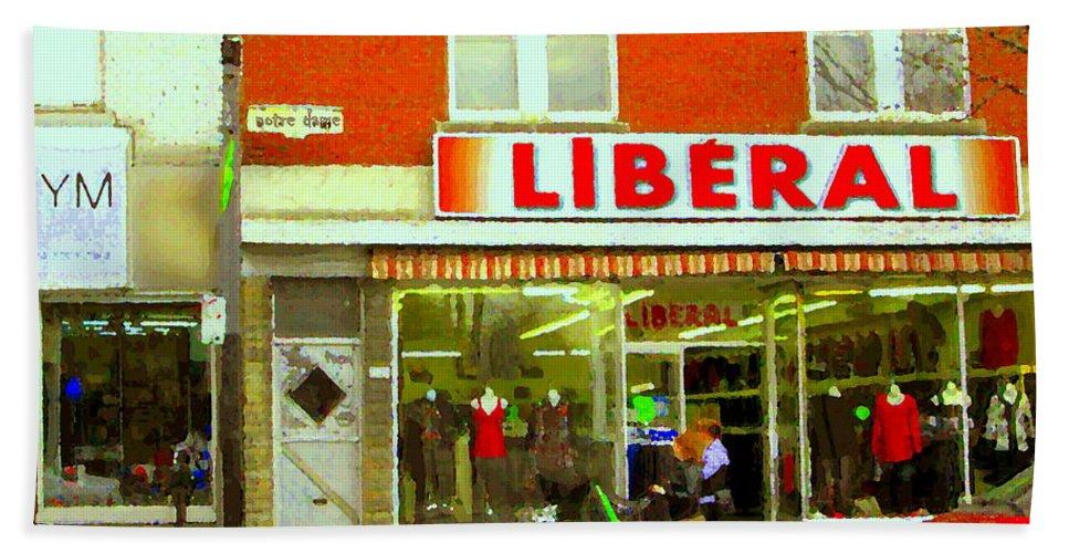 Magazin Liberal Bath Sheet featuring the painting Magazin Liberal Notre Dame Ouest Dress Shop Strolling St. Henri Street Scenes Carole Spandau by Carole Spandau