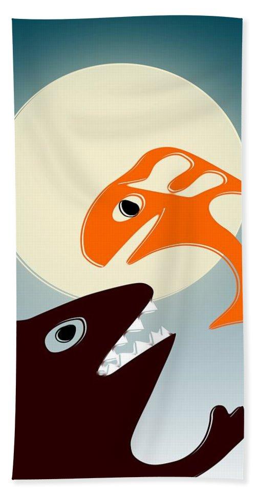 Bear Hand Towel featuring the digital art Magic Fish by Anastasiya Malakhova
