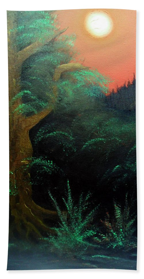 Landscape Bath Sheet featuring the painting Magic forest by Sergey Bezhinets