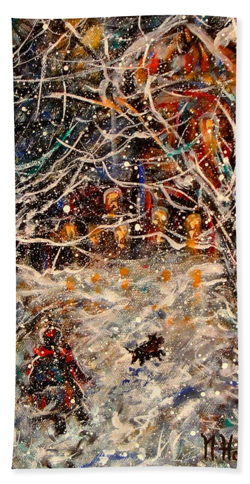 Landscape Hand Towel featuring the painting Magical Night by Natalie Holland